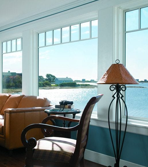 Interior window view of shore